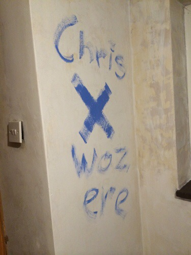 Chris's graffiti while decorating