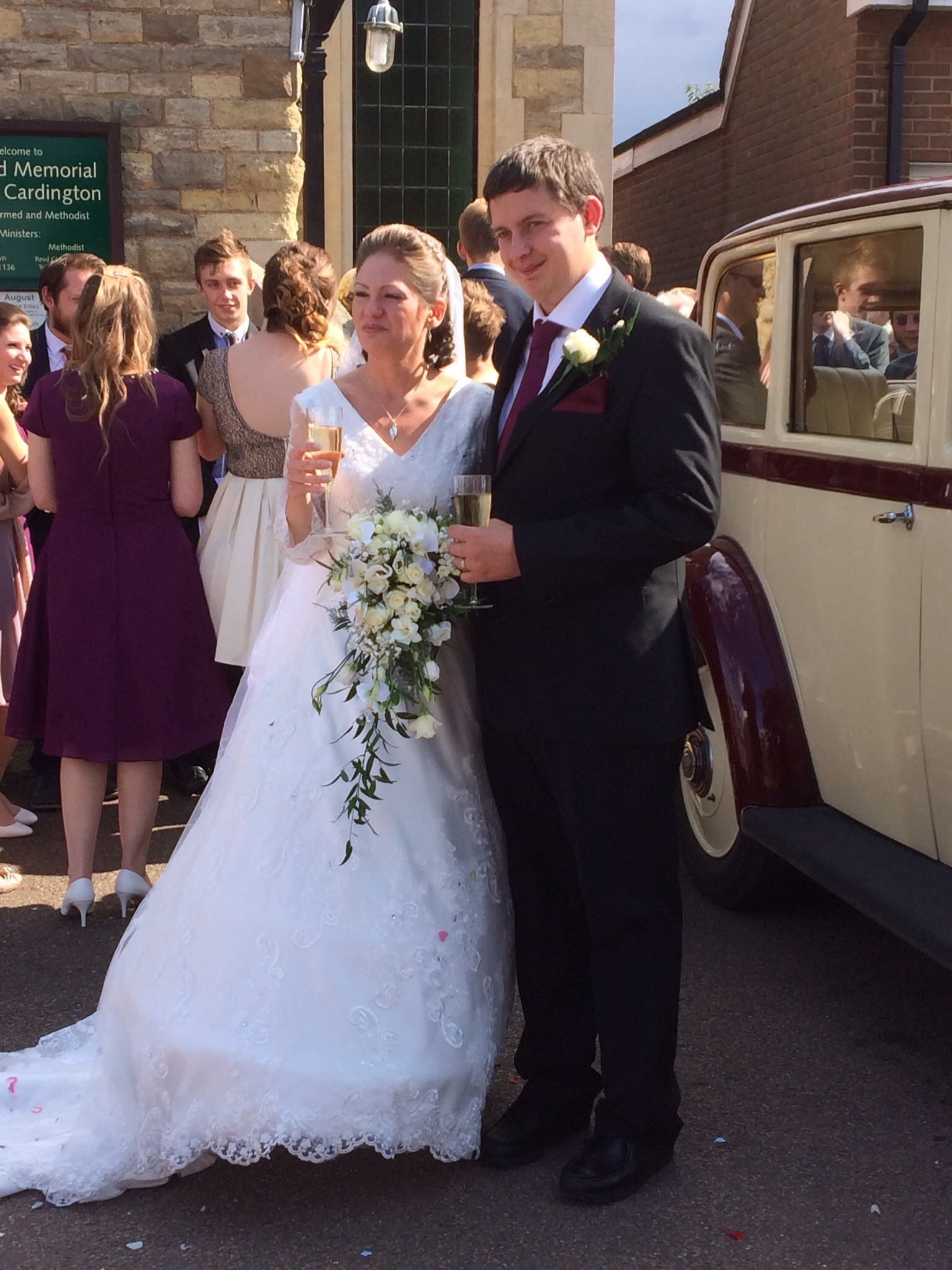 The Bride and Groom outside the church following Part Deux
